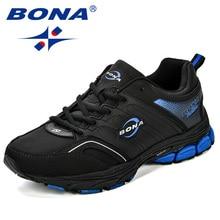 BONA Giày Casual Nam Microfiber Người Đế Bằng Phối Ren Thoáng Khí Nam Cổ Điển Thời Trang Giày Ngoài Trời Zapatos De Hombre Miễn Phí Vận Chuyển