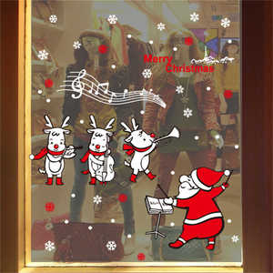 Image 4 - 2019 Cartoon Santa Claus Wand Aufkleber Wand Kunst Abnehmbare Hause Aufkleber Party Decor Frohe Weihnachten Fenster Film Aufkleber