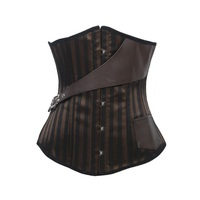 Free Ship Underbust Corset Steampunk Brown Corpetes E Espartilhos With Leather Belt Women Waist Training Gothic