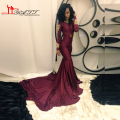 African Burgundy Long Sleeve Cheap Evening Dresses 2017 Design Mermaid Gold Lace Appliques Beads Prom Gown With Spandex Stretch