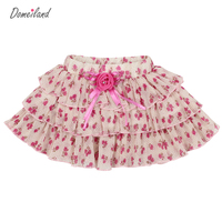 2017 Fashion Summer Brand Domeiland Kids Clothing Girls Floral Skirts Chiffon Bow Children Party Layer Skirt