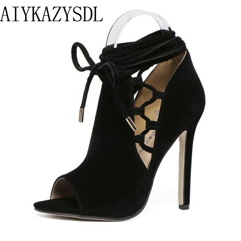 AIYKAZYSDL zapatos mujer Ribbon Open Toe Ankle Boots Spring Summer Flock Cross Tied Stiletto Pump High Heel Party Rome Shoes