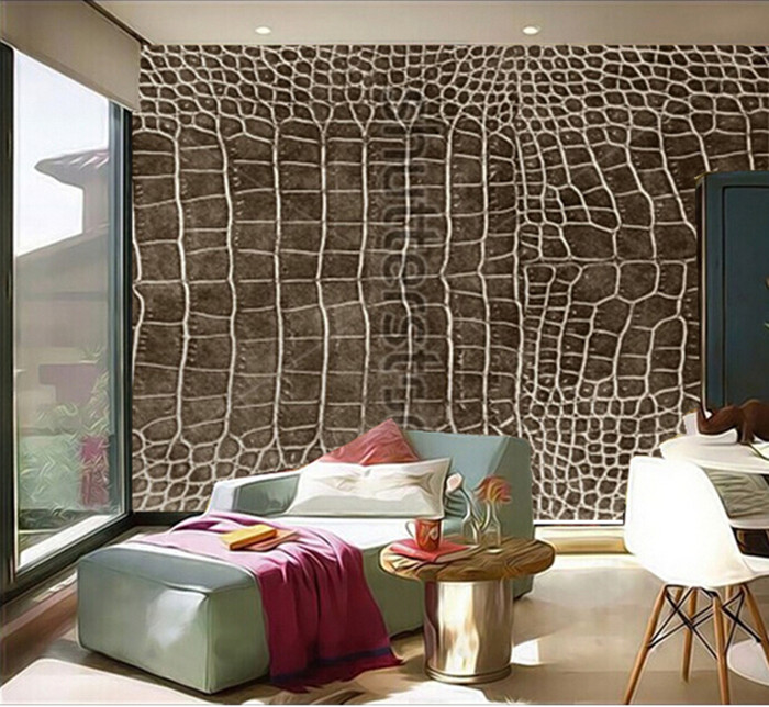 Custom 3D Murals,dark Brown Crocodile Skin Texture As A