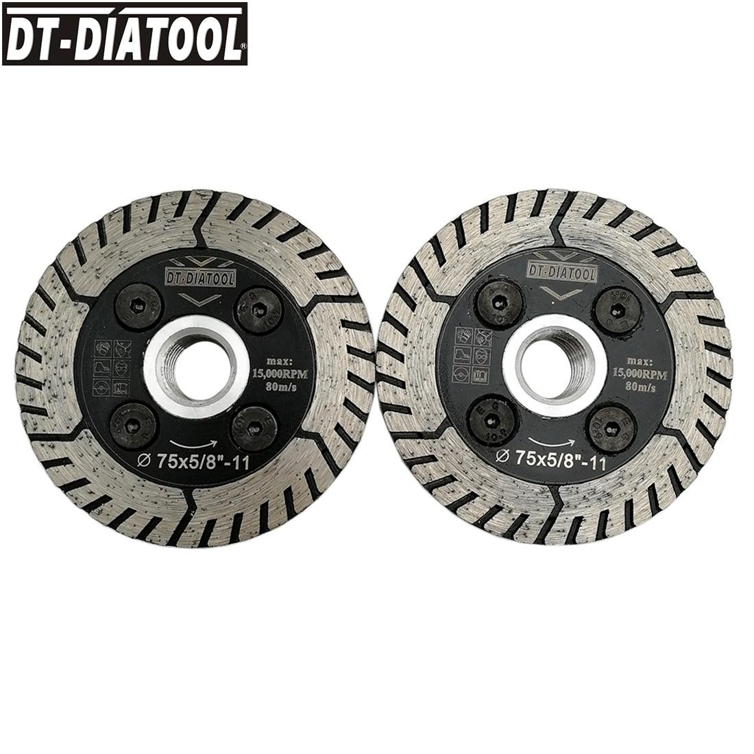 DT-DIATOOL 2pcs/set Diamond Dual Wheel Cutting & Grinding Saw Blade Cutting Disc For Granite Marble 5/8-11 Thread Dia 3inch/75mm