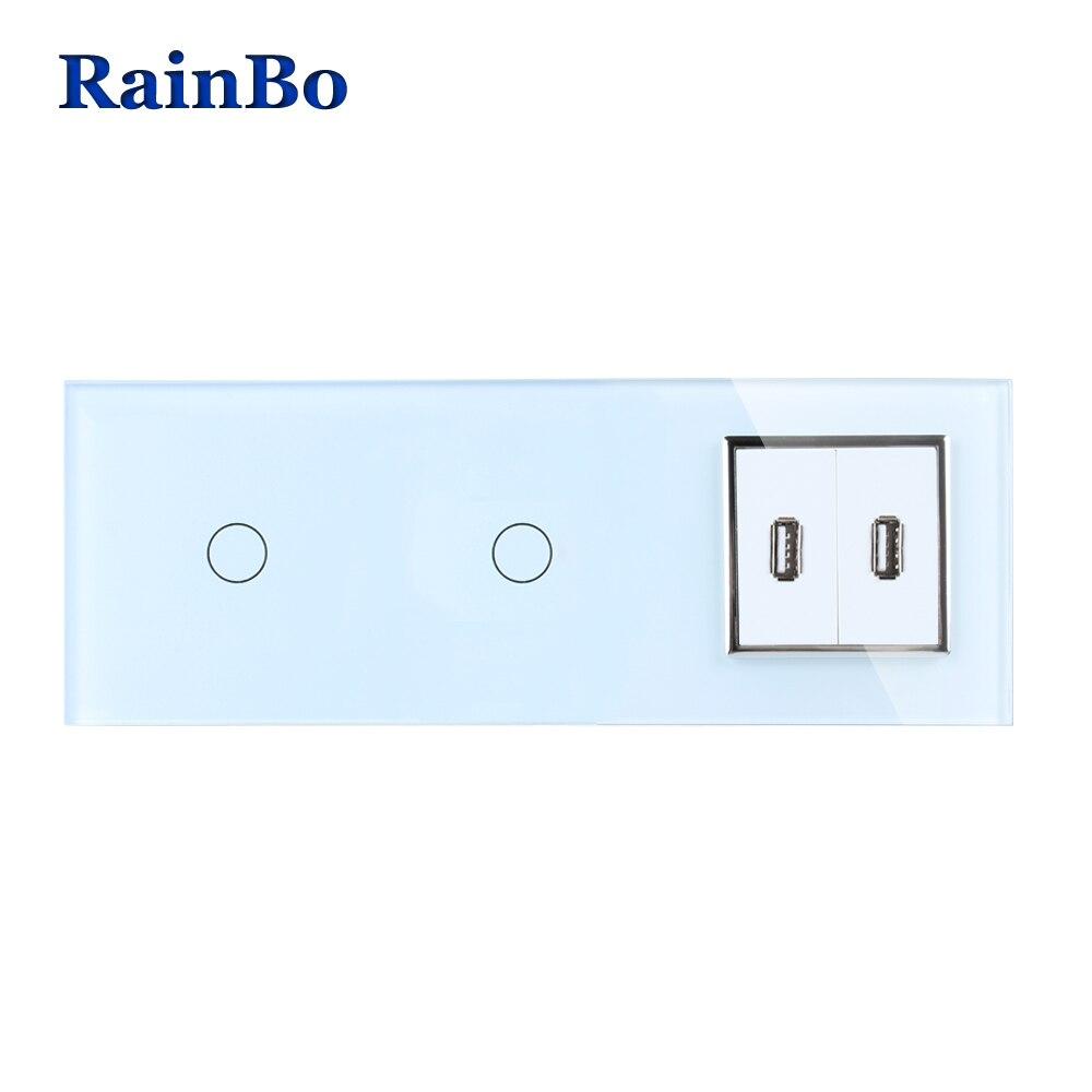 RainBo Marque Panneau Verre Cristal USB Socket UE Tactile Prise de Contrôle Écran Mur Interrupteur 1gang1way A39111182USCW/B