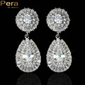 Luxury White Gold Plated Round Cubic Zirconia Stone Classic Big Water Drop Bridal Wedding Earrings Jewelry For Brides E122