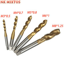 5pcs/set High Speed Steel HSS Titanium Screw Thread Titanium Coated Metric Spiral Hand Plug Tap Drill Bit Set M3 M4 M5 M6 M8 цены