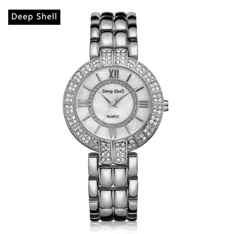Deepshell Brand Gold Women Bracelet Watches Ladies Crystal Quartz Watch Women Wristwatches Relogio Masculino Dropship #N13