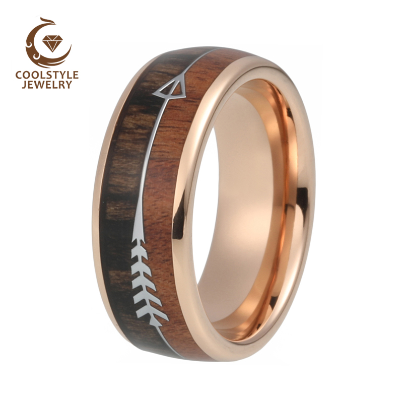 טבעת ממתכת בשילוב עץ וחריטה של חץ 5