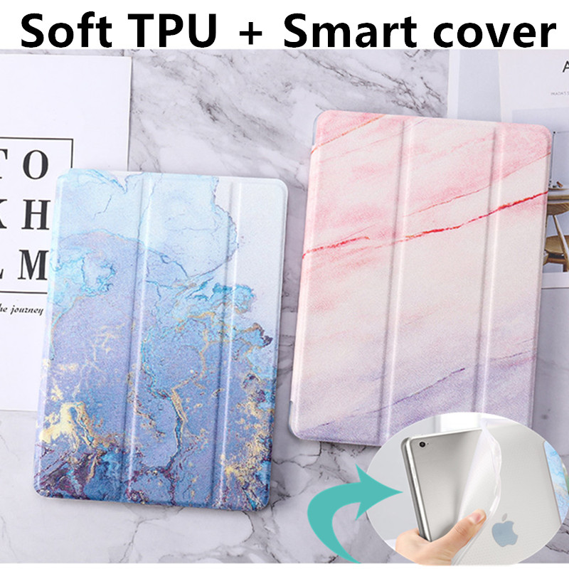 For IPad 9.7 2018 2017 Case TPU Marble Grain Leather Smart Cover For IPad 5/6 Air 1 2 Mini 1/2/3/ IPad 234 Pro 10.5 Mini 4 Case(China)