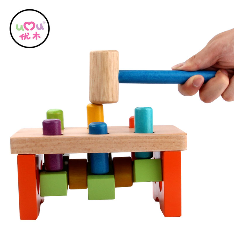Wood Toys For Children See Saw Pound A Peg Kids Cheering Stick Children Educational Wooden Piling Table Blocks UQ1386H magnetic wooden puzzle toys for children educational wooden toys cartoon animals puzzles table kids games juguetes educativos