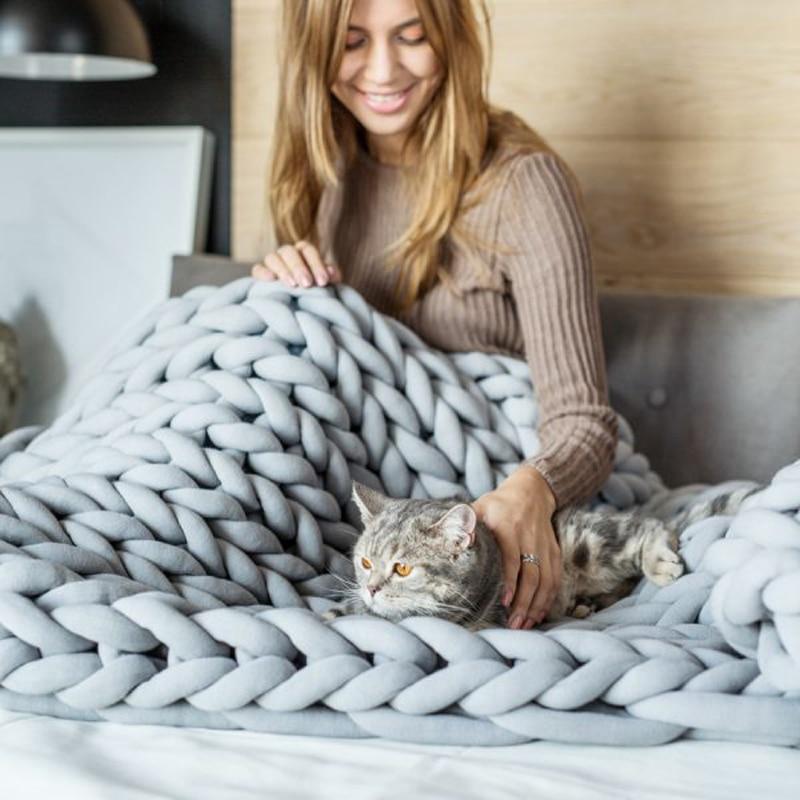 2018 INS акрил грубые линии Коренастый вязаное одеяло s зима Lagre машинная стирка домашний декор бросает s