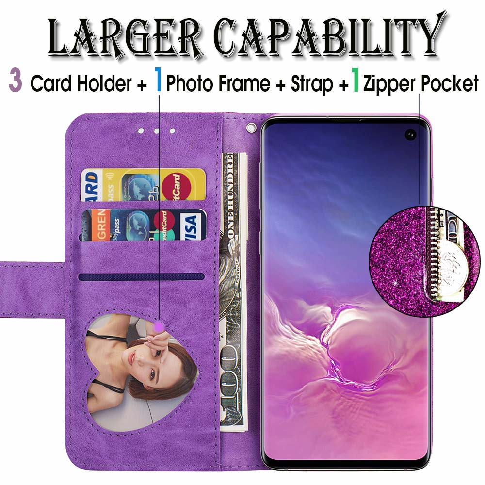HTB1JMrGdk5E3KVjSZFCq6zuzXXaU Bling Glitter Case For Samsung Galaxy S10e Note 8 9 S10 Plus S9 S8 Plus S7 Edge S6 Leather Flip Stand Zipper Wallet Cover Coque