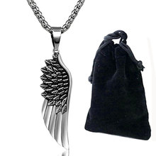 Angel Wings Pendant Wing Necklace Steampunk Vintage Stainless Steel Polished Necklaces Pendants Friendship Feather Jewelry 23 in