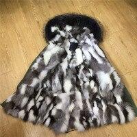 Italy Brand Winter Warm Dark Grey Raccoon Fur Hooded Fox Fur Parka Black White Grey Real