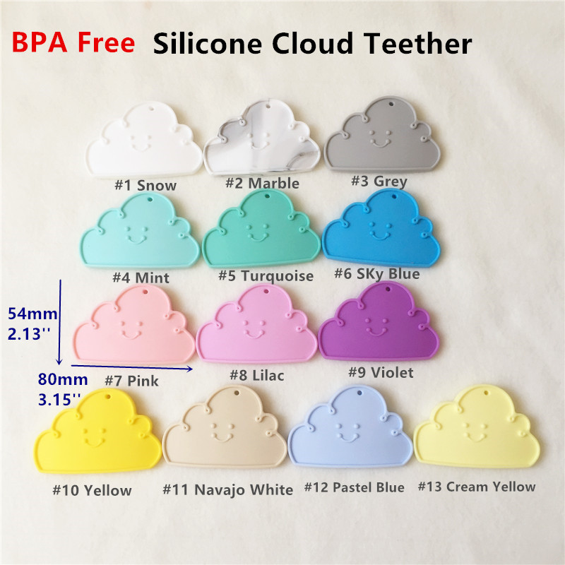 Chenkai 20PCS BPA Free Silicone Cloud Teether Baby Shower Pacifier Dummy Teething Chewable Pendant Nursing Jewelry