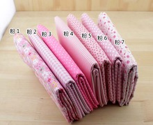 Pink Floral Series Handmade Plain &Twill Cotton Fabric for DIY Craft Sewing Scrapbooking 50*50cm 7 pcs Free shipping