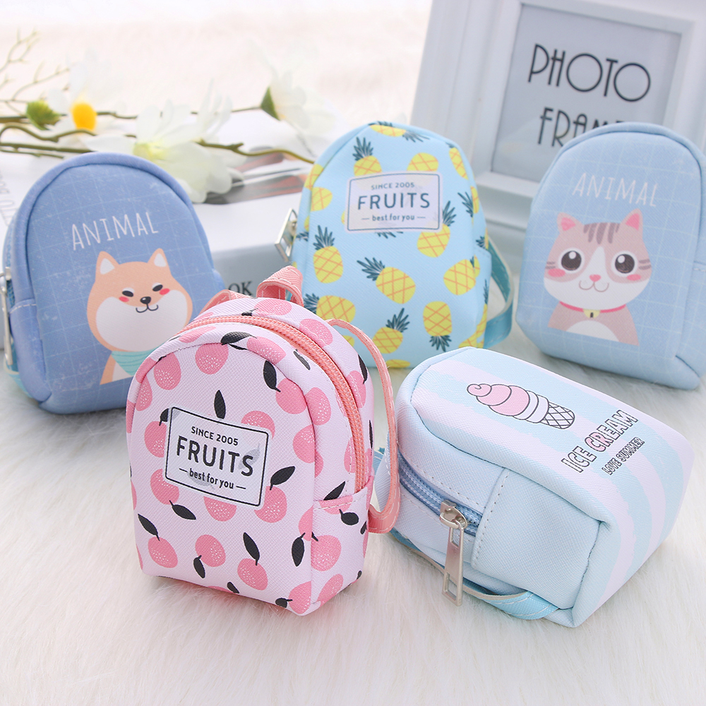 Cartoon Women Girls Mini Coin Bag Cat Printed Coin Purse Keys Card Holder Wallet Money Bags Earphone Package Kids Gifts