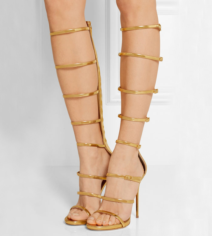 ФОТО Harmony Metallic Caged Gladiator Strappy Sandals Silver Gold Platform Knee High Boots High Heels Narrow Band Summer Shoes Woman