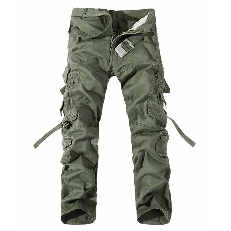 2018 neue Männer Cargo Hosen Armee Grün Große Taschen Mens Casual Hosen Einfach Waschen Männlichen Herbst Military Hosen Plus Größe 28-42