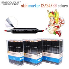 Finecolour Brush Soft Skin Tone Markers EF102 Cartoon Drawing Portrait Pen Colored Pigment Felt Calligraphy Refill Sketch Marker