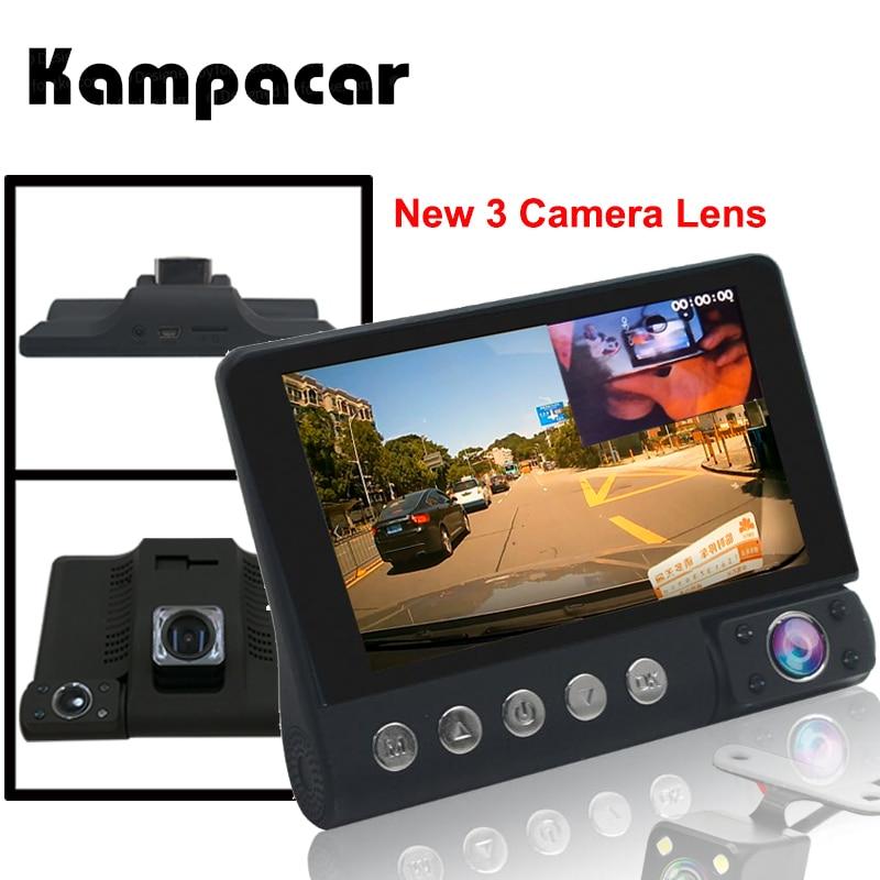 Kampacar 4 0 Inch Car Dvr Mirror 3 Camera Auto Recorder 3 in 1 Russian The