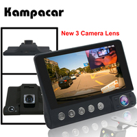 Kampacar 4.0 Inch Car Dvr Mirror 3 Camera Auto Recorder 3 in 1 Russian The Registrar Car Rearview Dual Dashcam With Two Cameras