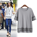 Chic Plus Size 5XL T Shirt Women Spliced Hollow Out Camisetas Mujer 2017 Loose Tops Tee Shirt Femme Gray White T-shirts C382