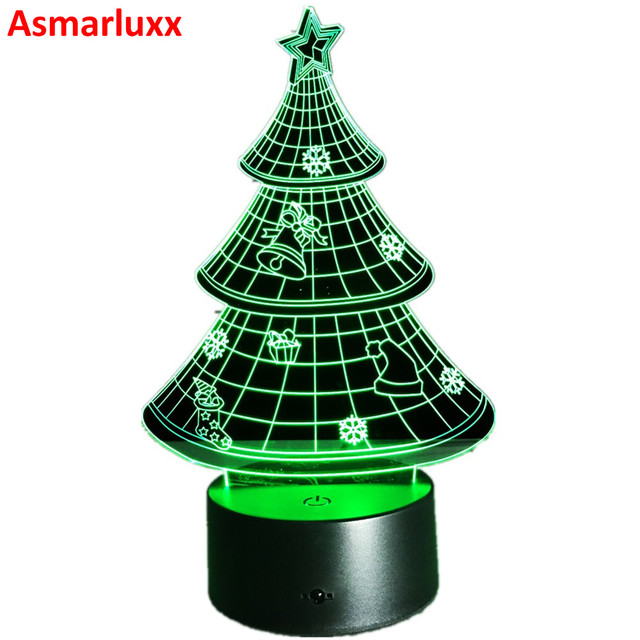 led christmas tree night light lamp decoration tree deer bell lamp 7 colors changing home decor - Led Christmas Tree Lights That Change Colors