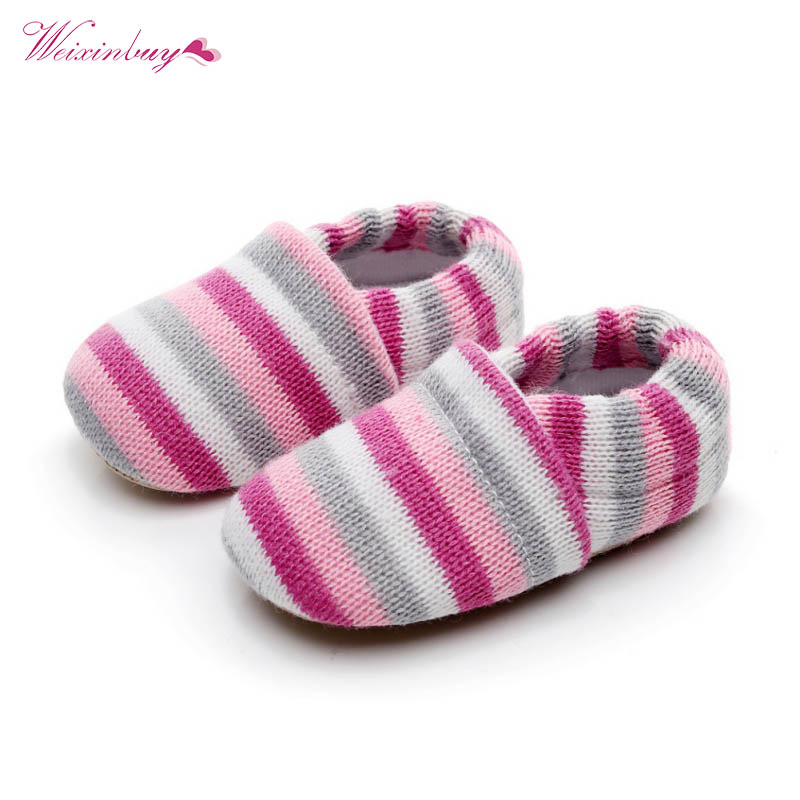 Adorable Infant Toddler Baby Boy Girl Knit Crib Shoes Cute Striped Anti-slip Prewalker First Walkers