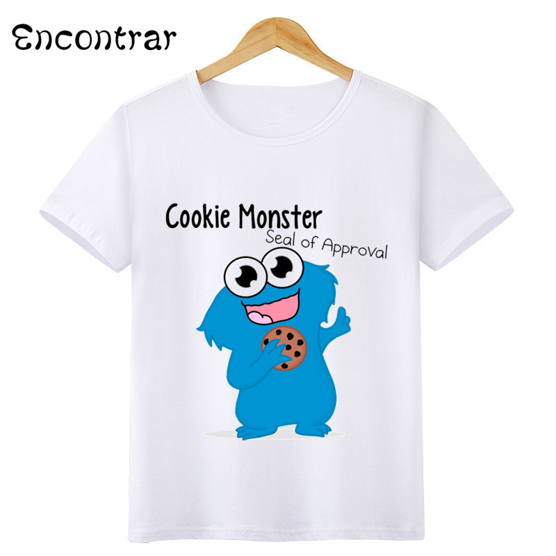 US $4 66 25% OFF|Kids Cartoon Sesame Street COOKIE MONSTER Design T Shirt  Boys/Girls Casual Short Sleeve Tops Children's Funny T Shirt,HKP3068-in