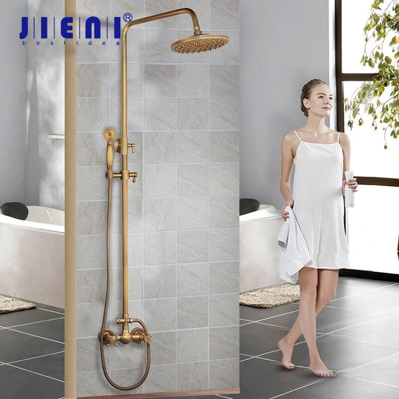 JIENI Antique Brass Wall Mount Rainfall 8 Inch Round Head 2 Functions Hand Shower Bathroom Shower