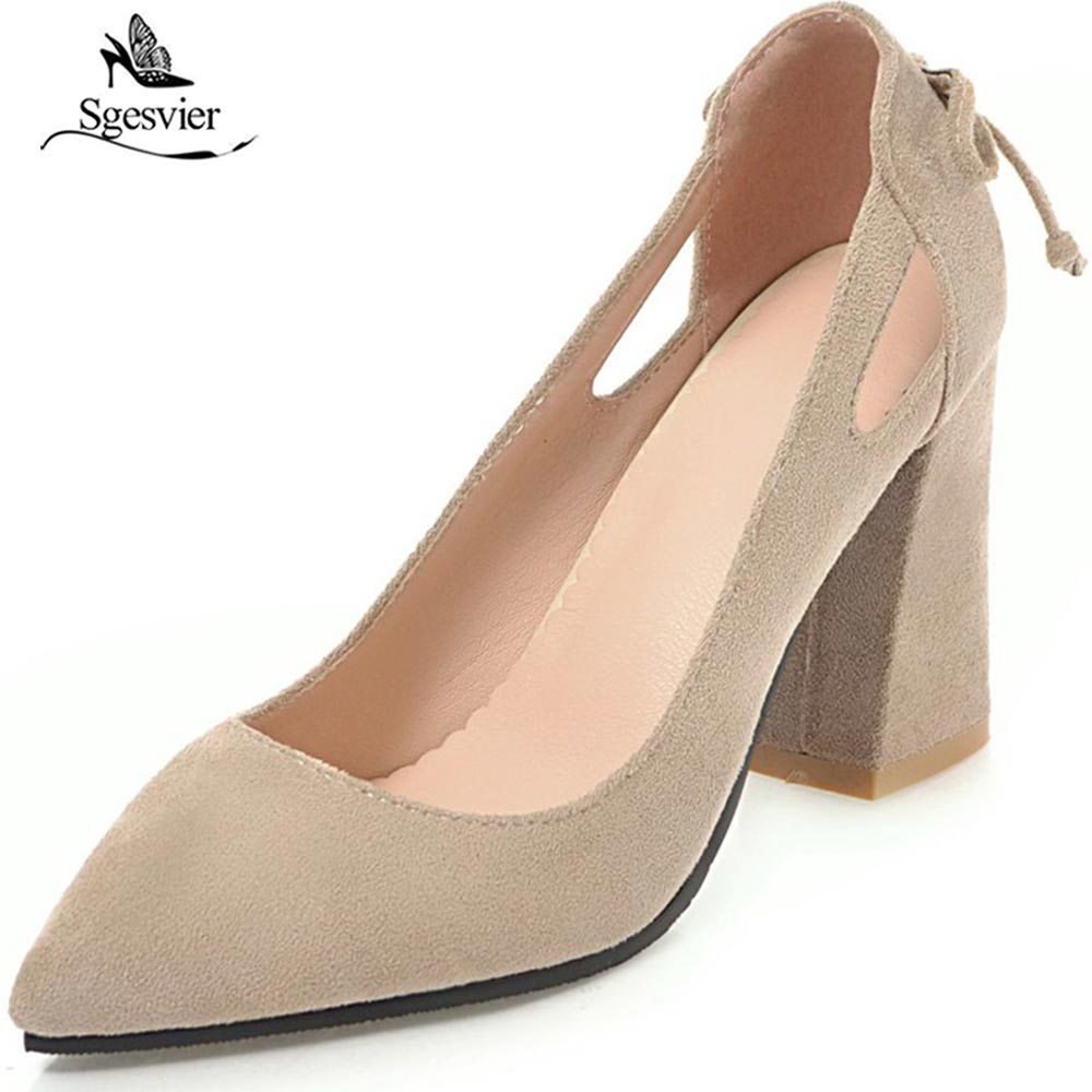 SGESVIER 2018 New Spring Women Pumps High Heel Pointed Toe Shoes For Woman Slip On Lady OL Shoes Square Heel Size 33-45 OX198 new 2017 spring summer women shoes pointed toe high quality brand fashion womens flats ladies plus size 41 sweet flock t179
