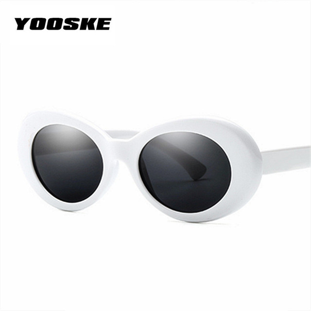 YOOSKE Clout Goggles Glasses Women Men NIRVANA Kurt Cobain Sunglasses Oval Sun Glasses Black White Pink Eyewear UV400