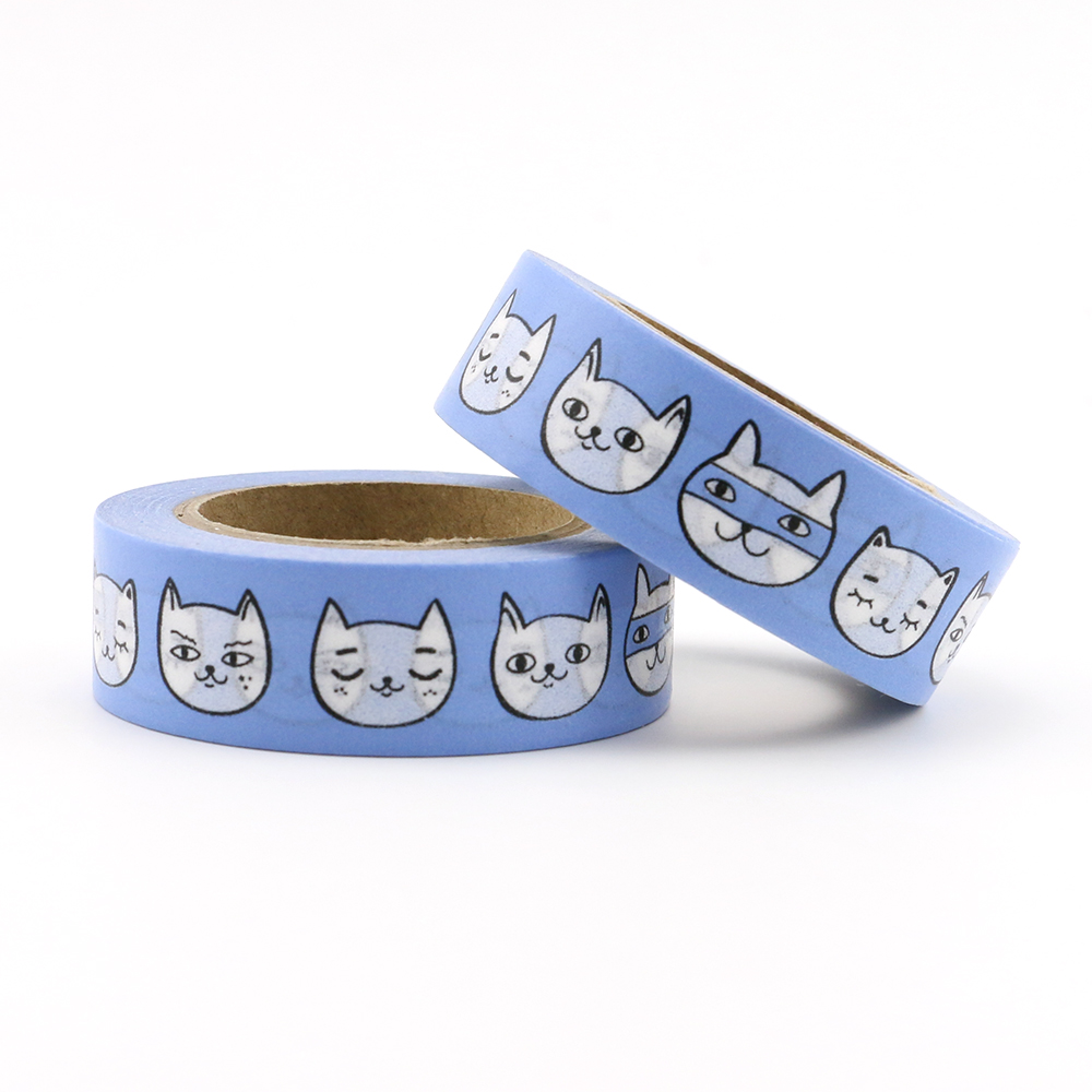 Cute Big Face Cat Bullet Journal Washi Tape Adhesive Tape DIY Scrapbooking Sticker Label Japanese Stationery