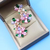Trendy Designer Women Luxury Shiny Earrings Drop High Quality Zirconia Decorative Dangle Earrings