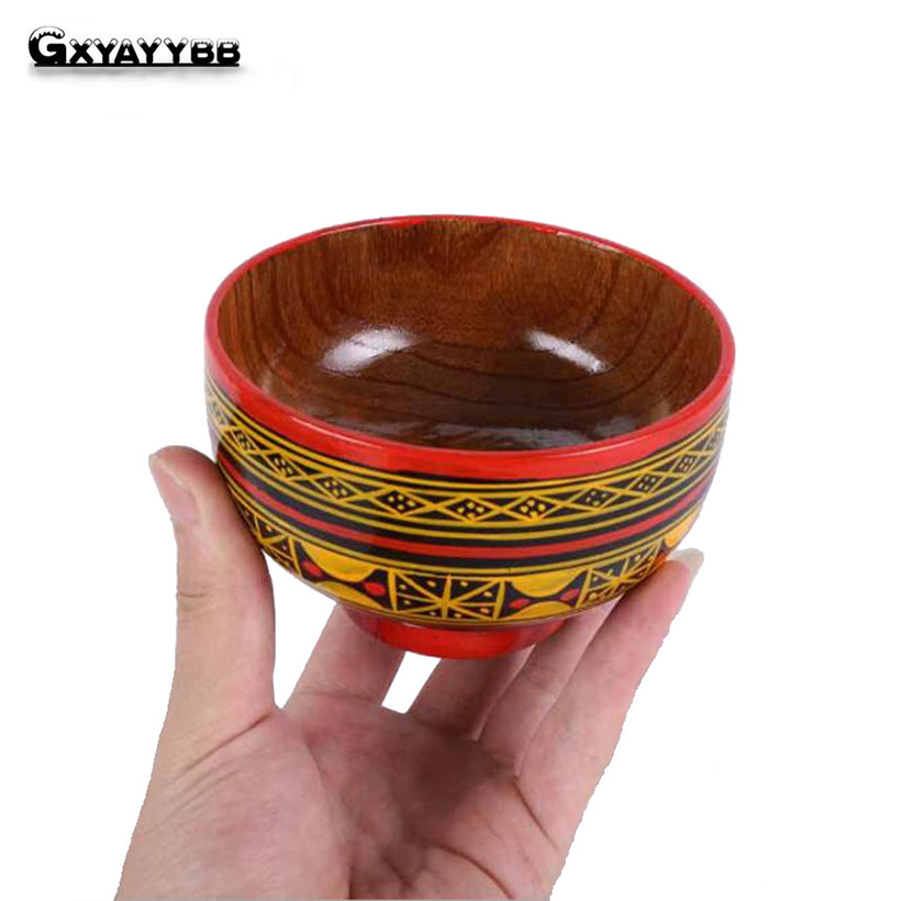 GXYAYYBB Jujube Wooden Bowl Chinese Soup Rice Noodles Bowls Kids Lunch Box Kitchen Tableware for Baby Feeding Food Container