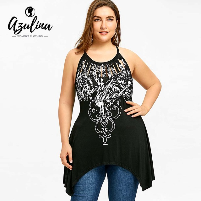 2fd400af8d212 AZULINA Big Size Print Cut Out Asymmetric Tunic Tank Top Summer Hollow Out  O Neck Sleeveless Tops Tees Plus Size Women Clothing
