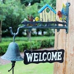 Żeliwne dzikie ptaki witamy dzwonek obiadowy znak do zawieszenia kabina Lodge Decor ściana ogrodu zamontowany dzwonek do drzwi dzwonek na drzwiach wiejskich