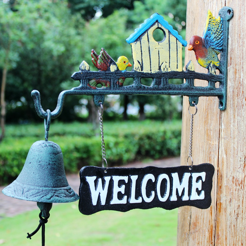 Чугунные Дикие птицы Добро пожаловать ужин колокольчик подвесной знак домик Декор садовый настенный дверной колокольчик кронштейн колоко