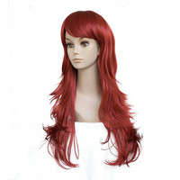 StrongBeauty Perruques de Femmes Rouge Long Ondulé Posé Style Bob Cheveux Synthétiques Pleine Perruque