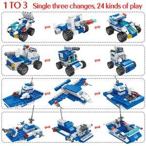 Image 3 - Городской полицейский участок автомобиль полицейский Робот строительные блоки кирпичи развивающие игрушки для детей Совместимые спецназ военные