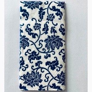 Image 1 - Casamento 10 sztuk 3 warstwa klasyczny niebieski kwiat papier ślubny serwetki do Decoupage dekoracja urodzinowa Boda dostaw