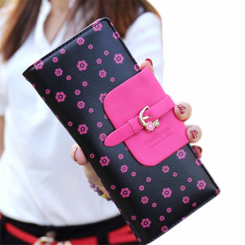 luxury brand women leather wallet 2017 fashion floral Long Wallet dollar price women handbags clutch purse portefeuille femme fashion girl change clasp purse money coin purse portable multifunction long female clutch travel wallet portefeuille femme cuir