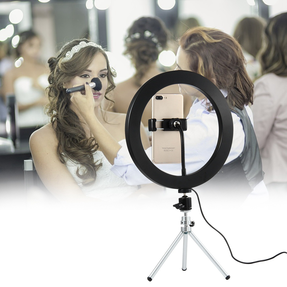 Phone Holder With Bright Light For Live Show Shooting Video Makeup Bracket Clamp Clip On Desk LED Lamp Smartphone Support Stand