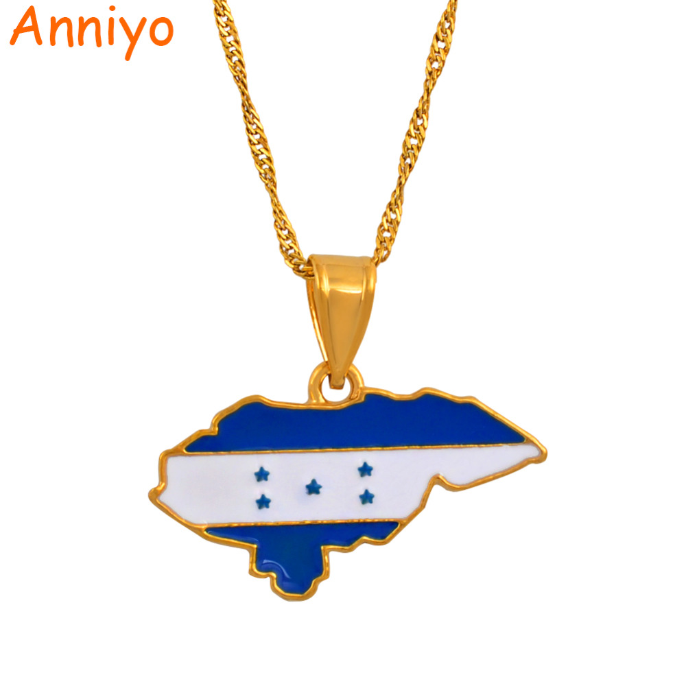 Anniyo Honduras Map and Color Flag Pendant Necklaces for Women Jewelry Patriotic Gifts #133506 patriotic cover up american flag wrap dress