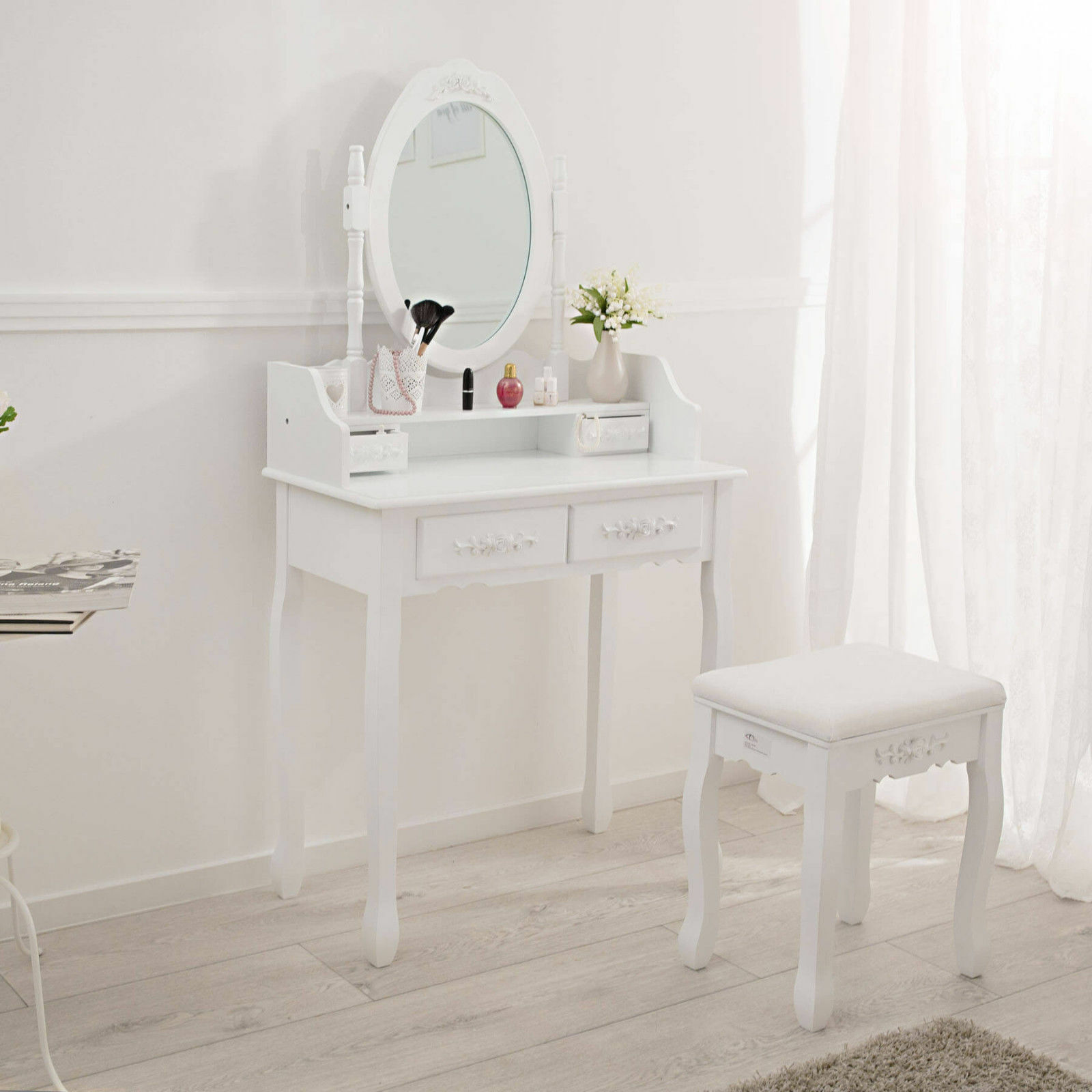 Women Dressing Table Set With Mirror Stool Vintage Makeup Desk Girl Bedroom