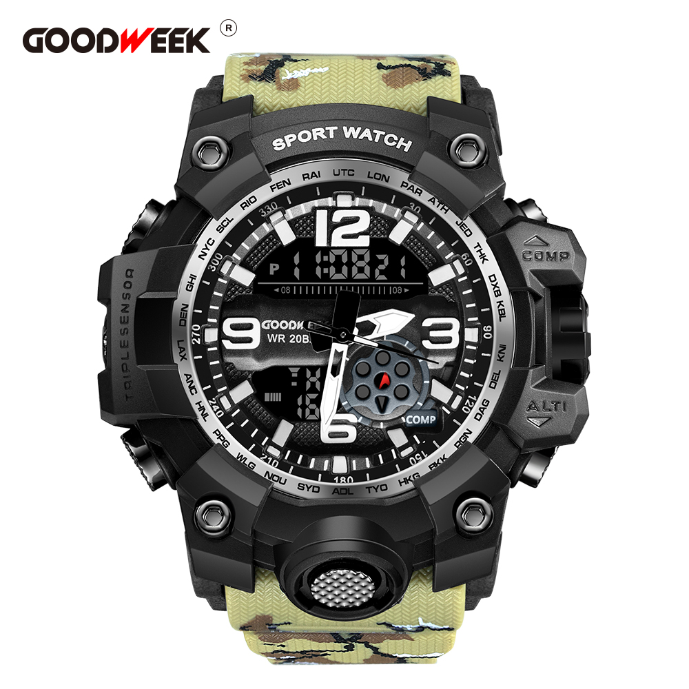 GOODWEEK Men Sport Watch Multifunctional Military Waterproof Watches Digital Quartz Dual Display Watches G Relogios Masculino(China)
