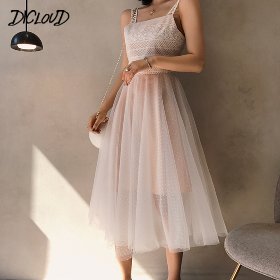 DICLOUD Korea Lace Mesh Elegant Dress Women