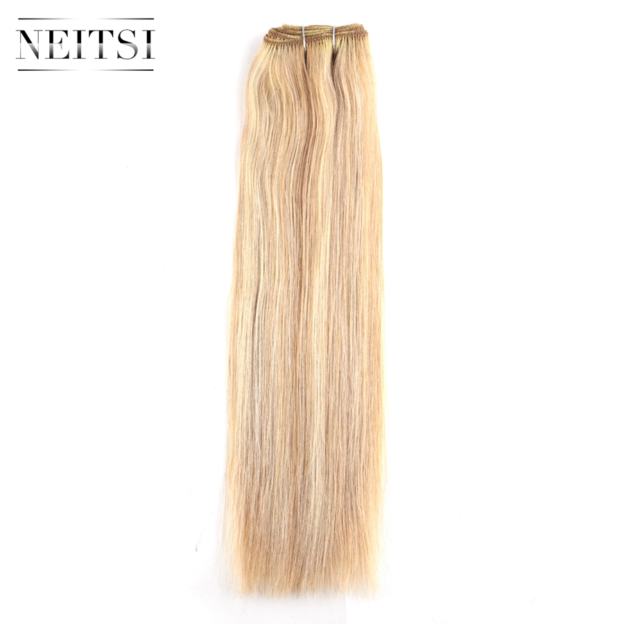 Neitsi Straight Brazilian Remy Human Hair Extensions 14 35 cm 110g pc P27 613 Piano Color